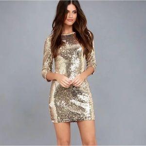 Lulu's gold sequin dress open back zipper shiny S